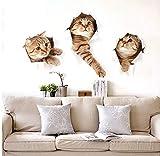 Cczxfcc3D Cat Wall Sticker Hole View Vivid Living Room Home Decor Stickers Murali Cat Wall Sticker Adesivo Simpatico Gatto Poster