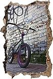 Pixxprint 3D_WD_2786_92x62 BMX-Rad an Mauer Wanddurchbruch 3D Wandtattoo, Vinyl, bunt, 92 x 62 x 0,02 cm