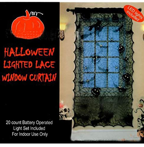 (Big-Mountain Fenstersiebung Headspider Web Vorhang Tuch Halloween Kürbis Schädel Black Lace Festival Fenster Tür Dekor (Schwarz))