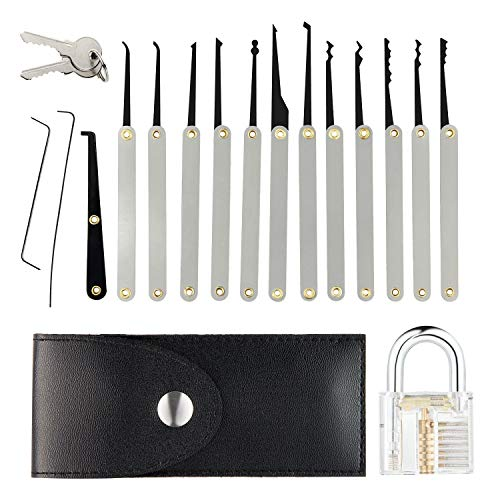 cdf8edd426be Eulan Extractor Lock Pick Set, Practice Padlock Kit for Beginners with  Transparent Padlock + Keys + Tension Wrench + Extractor and Bump Tools for  ...
