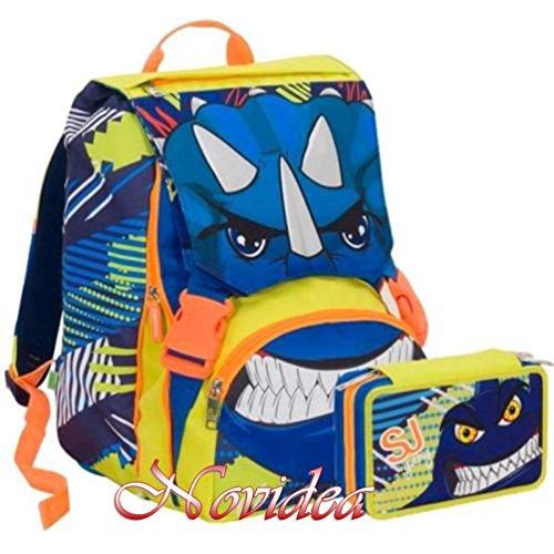 School pack zaino seven sj gang boy animal estensibile blu + astuccio 3 zip