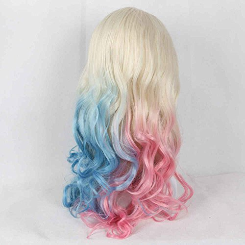 Women's Cosplay Party Lace Front Wigs Heat Resistant Synthetic Long Wavy Hair White Blonde To Half Blue Half Pink Drag Queen Holidays Wig 22