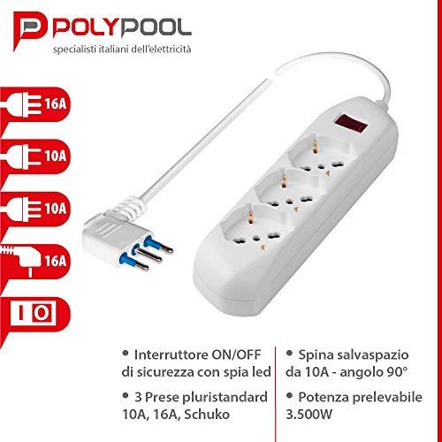 Poly Pool PP2513 Presa Multipla Multisize Con 3 Prese Pluristandard, Spina Piccola Prese Grandi, 1.5 Meter Cavo, Bianco
