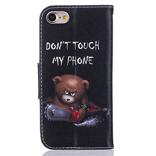 iPhone 7 Hülle,iPhone 7 Ledertasche Handyhülle Brieftasche im BookStyle,SainCat PU Leder Hülle Wallet Case Folio Schutzhülle Karikatur Muster [Ballon-Bär] Lederhülle Scratch Bumper Handytasche Backcov Kettensägen-Bär