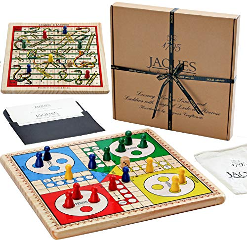 Jaques of London Snakes and Ladders & Ludo on a Solid Wood Reversible Board