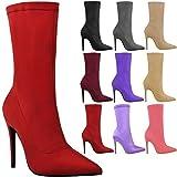 Botines de Mujer Lycra Elástica Tacón de Aguja Zapatos Punta Estrecha - Rojo Brillante Lycra, 40