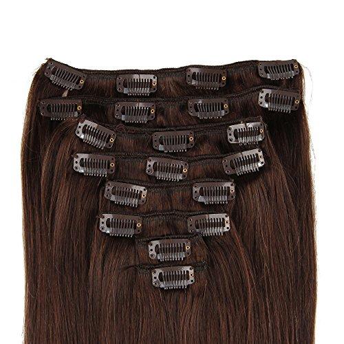 Beauty7 Extensions de Cheveux a Clips humains 100% Remy Hair #2 Brun Longueur 60 cm Poids 120 grams