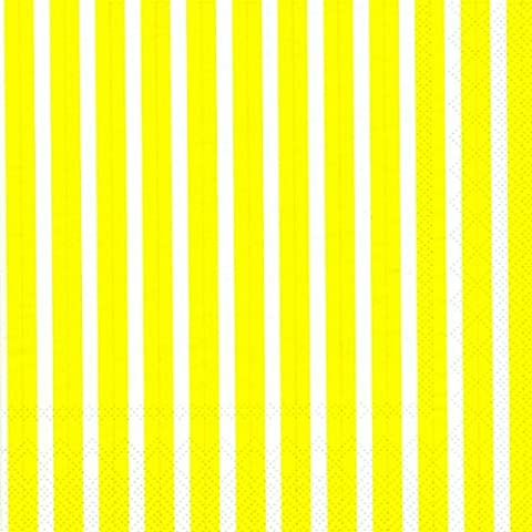 Stripes Again Yellow White Stripes Luncheon Napkin 20 in pack 33cm square