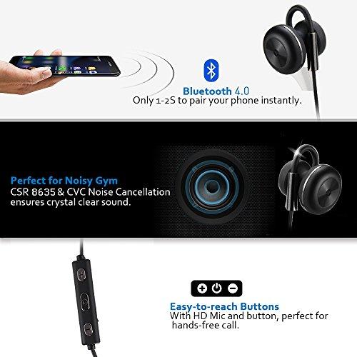 Bluetooth Kopfhörer Bovon Kabellose Magnetische Attraktive IPX4 Spritzwasserfest Sport Headset Stereo In-Ear Ohrhörer mit Mikrofon für iPhone, iPad, Samsung, Nexus, HTC und mehr (schwarz) - 3