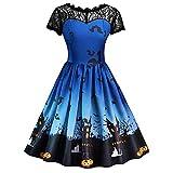 2018 Halloween Party MYMYG Ausverkauf Frau Kostüm Mode Halloween A-Linie Spitze Kurzarm Party Casual Täglichen Vintage Kleid Abend Party Kleid (A3-Himmelblau,EU:38/CN-L)