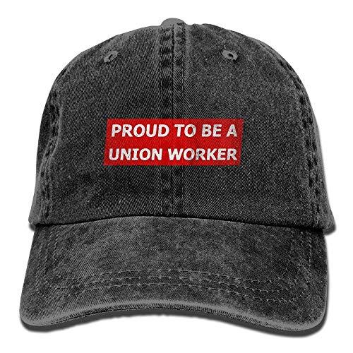 Proud to Be A Union Worker Unisex Adjustable Cotton Denim Hat Washed Retro Gym Hat Cap Hat