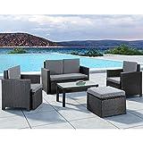 ArtLife Polyrattan Gartenmöbel Sitzgruppe Samos schwarz und dunkelgraue Bezüge für 4 Personen - 5-teiliges Gartenmöbel-Set inkl. 2er-Sofa, Sesseln, Hocker & Tisch