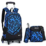 Meetbelify 3Pcs Rolling Backpack Boys Girls Trolley School Bags with Lunch Bag&Pencil Case,6