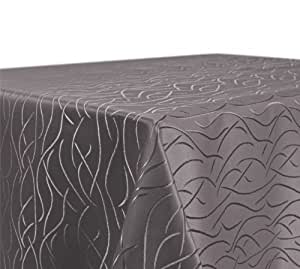 Tischdecke Damast mit Streifenmotiv, bügelfrei, eckig 130x260 cm Taupe