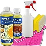 Abacus CITRAL BONIN Set (7044) – Set per la cura del legno e dei mobili, olio d'arancia, detergente per mobili, protezione UV, sgrassante nicotina, sgrassante