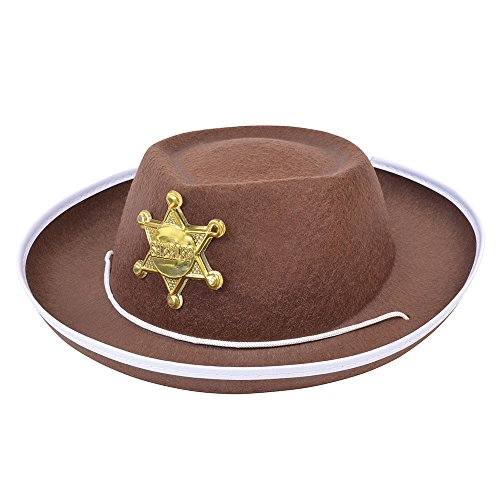 7 Hut Cowboy Filz Childs braun, One Size (Mädchen Fighter Kostüm)
