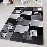 Moderner Kurzflor Teppich Designer geometrisch Design Muster Karo Schwarz Weiß kariert für Wohnzimmer in verschiedenen Größen mit Öko-Tex (160 x 230 cm)
