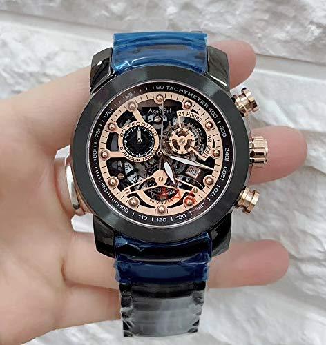 WDXDP Uhr Luxusmarke New Men Chronograph Stoppuhr Saphir Edelstahl Rose Gold Schwarz Luminous Skeleton Watch Sport AAA + Rose Gold