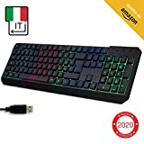 KLIM Chroma Clavier Gamers QWERTY Italie Filaire USB - Haute Performance - Éclairé chromatique Gaming Noir RGB PC Windows, Mac PS4 [ Nouvelle Version ]