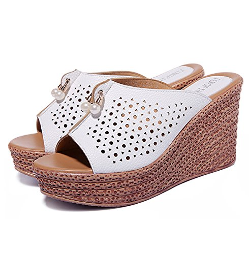Damen Pantoffeln Peep-Toe Plateau Aushöhlen Atmungsaktiv Rutschhemmend Bequem Sommerlich Strand Urlaub Süß Topaktuell Schuhe Weiß