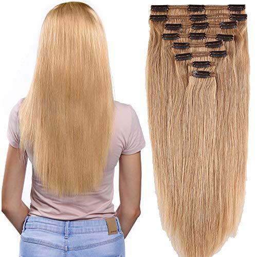 Clip in Extensions Set 100% Remy Echthaar 8 Teilig Haarverlängerung dick Dopplet Tressen Clip-In Hair Extension (50cm-150g,#27 Dunkelblond)