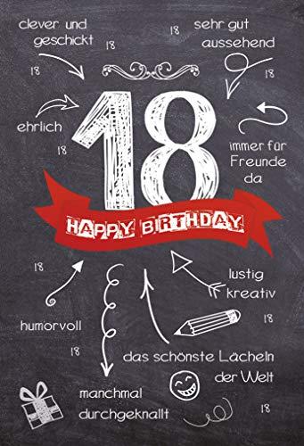 Geburtstagskarte zum 18. Geburtstag | Karte zur Volljährigkeit | Geburtstagskarte mit Zahl | Karte zum 18. Geburtstag im Set | Karte in Folie | DIN A6 | Klappkarte inkl. Umschlag | Motiv: Volljährig