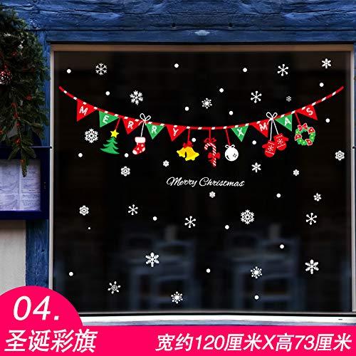 HAPPYLR Weihnachtsaufkleber Wandaufkleber Fenster Fensterglas Aufkleber Aufkleber Klassenzimmer Tür Dekoration Dekoration, 04 Weihnachten Bunting