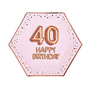 Neviti- Glitz & Glamour-Plate-Large-Pink & Rose Gold-Age 40 Papel (773215)