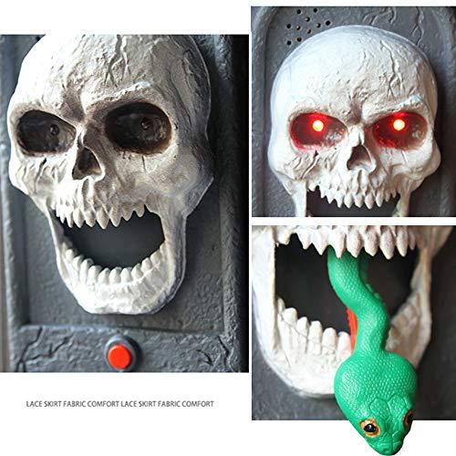 Halloween Tür Dekorationen Spooky Skull Türklingel mit Light Up Augapfel und Scary Sounds Halloween Holiday Party Dekoration Teufel Haunted House Decor Requisiten Spielzeug - Solar Power Kostüm