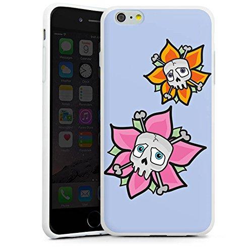 Apple iPhone X Silikon Hülle Case Schutzhülle Blume Totenkopf Skull Silikon Case weiß