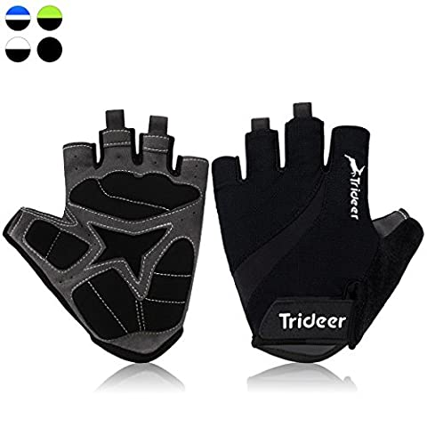 Trideer Light Cycling Biking Glove Gym Glove, Fitness Bodybuilding Exercise Gloves for Sports - Breathable Microfiber Lycra Material and Silica Gel Grip Anti-slip Glove for Road Racing Bicycle - Half & Full Finger Gloves for Men, Women, Ladies, Female (Pair) (Black, M)