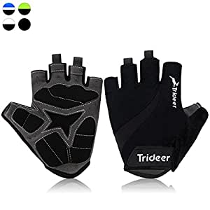 Trideer Light Cycling Biking Glove Gym Glove, Fitness Bodybuilding Exercise Gloves for Sports - Breathable Microfiber Lycra Material and Silica Gel Grip Anti-slip Glove for Road Racing Bicycle - Half & Full Finger Gloves for Men, Women, Ladies, Female (Pair) (Black, S)