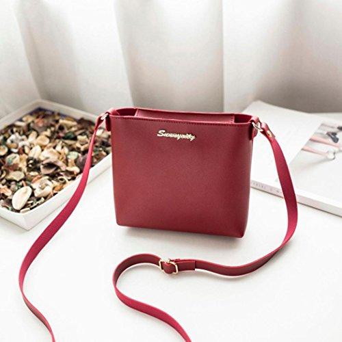 Damen Handtaschen, Huhu833 Mode Frauen Umhängetasche Umhängetasche Messenger Bag Phone Bag Münztüte Rot
