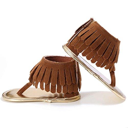 Coolster Baby Sandale Krippe Schuhe Tassel Soft Sole Anti-Rutsch Kleinkind Säugling Sneakers Braun