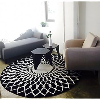 Mode Scandinave Tapis Rond Noir Et Blanc Salon Table Basse Chambre Salle D étude Tapis Taille 120cm