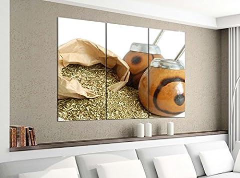 Leinwandbild 3tlg 120cmx100cm Tee Mate Blätter Diät Gesundheit Küche Bilder Druck auf Leinwand Bild Kunstdruck mehrteilig Holz 9YA3501, 3 Tlg 120x100cm:3 Tlg 120x100cm