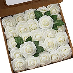 Kesote Künstliche Blütenköpfe Set 50 Stück Kunst Blumenköpfe Rosenköpfe