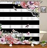 "livilan Waterproof Fabric Shower Curtain Set 70.8"" x 70.8"" Pink Flowers & Black White Stripes Pattern Decorative Thick Bathroom Curtain"
