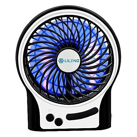 USB Ventilator, Mini USB Tischventilator mit LED Light, tragbarer Handventilator USB Fan mit 3 Geschwindigkeitsstufen für Reisen und Zuhause, 12,4x 4,4x 14,8cm, Schwarz