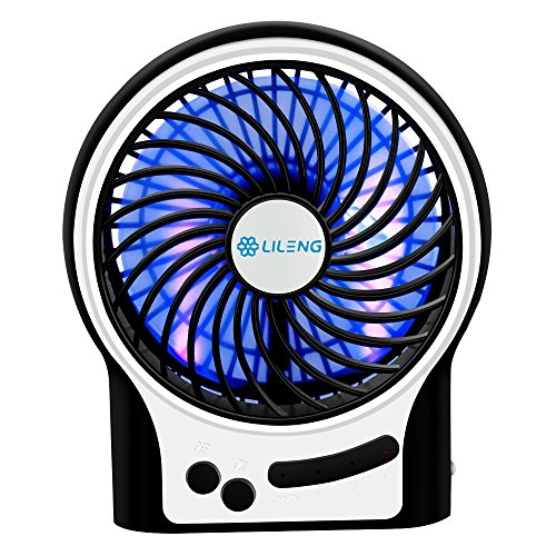 USB Ventilator, Mini USB Tischventilator mit LED Light, tragbarer Handventilator USB Fan mit 3 Geschwindigkeitsstufen für Reisen und Zuhause, 12,4x 4,4x 14,8cm, Schwarz