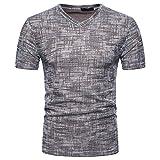 VEMOW Top Selling Fashion Herren Sommer Casual Täglichen Außerhalb SOID Loch V-Ausschnitt Pullover T-Shirt Top Bluse Pulli Tees(Kaffee, EU-58/CN-XL)