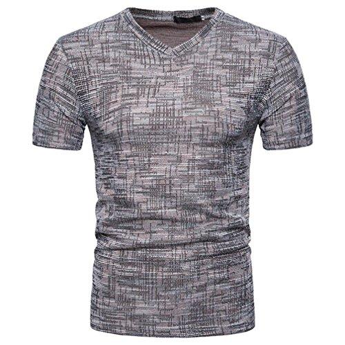 7bc54564e029ef VEMOW Top Selling Fashion Herren Sommer Casual Täglichen Außerhalb SOID  Loch V-Ausschnitt Pullover T-Shirt Top Bluse Pulli Tees(Kaffee