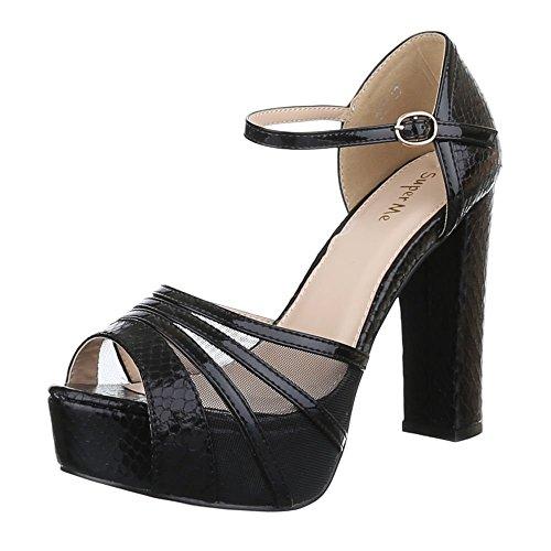 Damen Schuhe, 267, SANDALETTEN, HIGH HEELS PUMPS PLATEAU, Synthetik , Schwarz, Gr 38