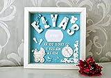 Personalisiertes 3D Bilderrahmen - Baby Geburtstafel, Geburtsdaten, Geburtsbild, Geburtsanzeige, Namensschild - Junge, Taufe, Geschenk