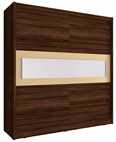 Sarah 2–2Türen Schiebetür verspiegelt GROßE Schlafzimmer weiß dunkelbraun Eiche hell Holz Modern Style Kleiderschrank CHOCOLATE 200