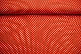 Stoff / Kinder/ Meterware / ab 25cm / beste Baumwoll-Qualität / Baumwolle kleine Punkte gelb auf orange