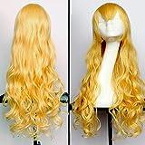 KOLCY Lokiges Haarteil Golden modern lang mit schräger Ponyfrisur wellige Perücke synthetische Haarverlängerung