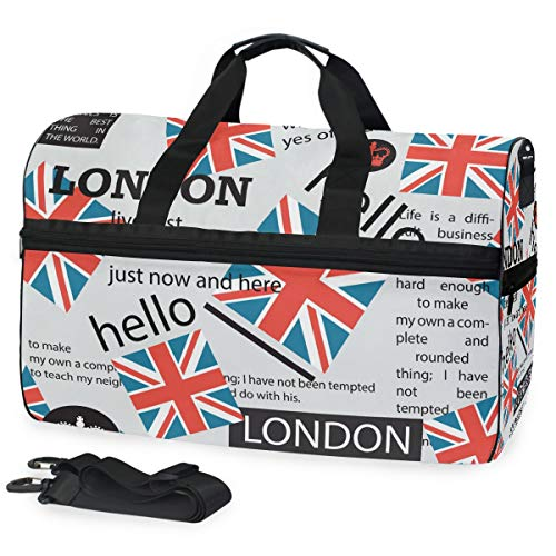 Ahomy newspaper texture english gym bag sport viaggio borsone per uomini e donne con scomparto per scarpe