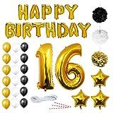 16 Geburtstag Dekoration - 16. Geburtstag Luftballons Happy Birthday Banner Gutschein -Helium Party Luftballons Zum Hochzeitstag Party Deko - Frauen Männer (16 jahre) Gold Weiße Schwarze Latex Foilen