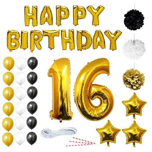 16 Cumpleaños Decoracion - Globos de Cumpleaños Guirnalda - Globos de Helio para el aniversario de boda, Fiesta Décor para Niña Niño Hombre Mujer (números 16 Happy Birthday) - Regalos Kit